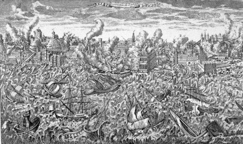 Lisszaboni földrengés ábrázolás